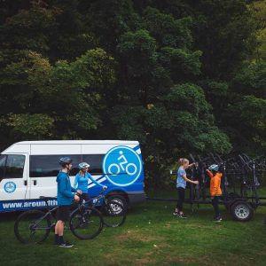 Setting clients up to ride from near Arrowtown