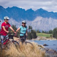 Enjoying the mountain views along the Queenstown Trail